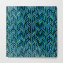 Modern Blue Herringbone Metal Print