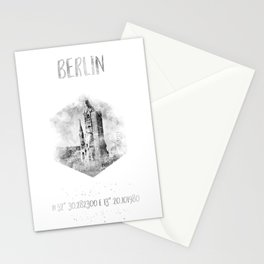 Coordinates BERLIN | monochrome watercolor Stationery Cards