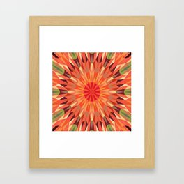 Living Coral Retro Geometry Earth Tones Framed Art Print