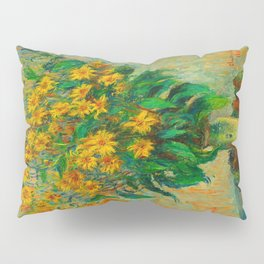 Claude Monet Impressionist Floral Oil Painting Jerusalem Artichoke Flowers, 1880 Pillow Sham