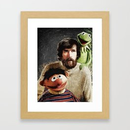 Jim Henson Together With Ernie And Kermit The Frog Framed Art Print