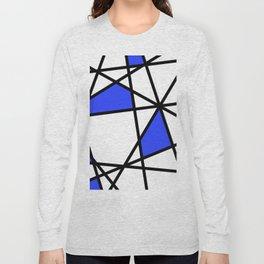Geometric Modern triangles - white blue Long Sleeve T-shirt