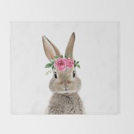 Bunny with Flower Crown Throw Blanket