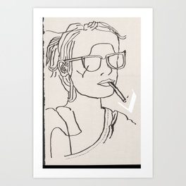 Emma fumant Art Print