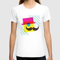 mid century modern T-shirts featuring Mid Century Mustache Man - CMYK by Modern South Design