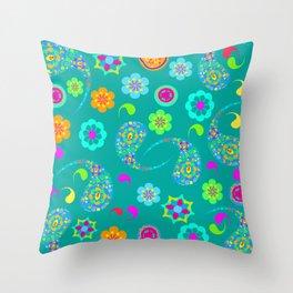 Green Paisley № 5 Throw Pillow