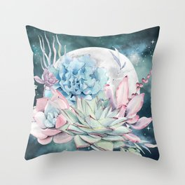 Beautiful Succulents Full Moon Teal Pink Throw Pillow