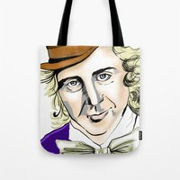 willy wonka Tote Bags featuring Willy Wonka by Bubble Trump Ltd