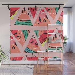 Pink Watermelon Pattern Wall Mural