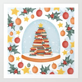 BOOKISH CHRISTMAS Art Print