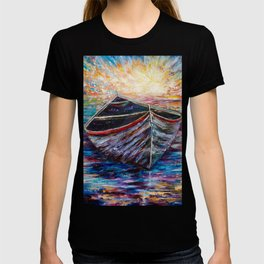 Wooden Boat at Sunrise my Painting with a Palette Knife T-shirt