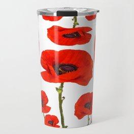DECORATIVE MODERN RED-ORANGE POPPIES GARDEN DESIGN Travel Mug