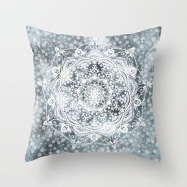 Mandala Silver Spirit Spiritual Zen Bohemian Hippie Yoga Mantra Meditation Throw Pillow