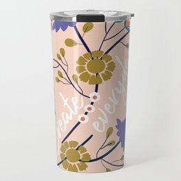 Creativity quote and flowers Travel Mug