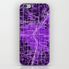 Denver Colorado map, year 1958, purple filter iPhone Skin