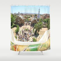 barcelona Shower Curtains featuring Barcelona by Marine Laborie