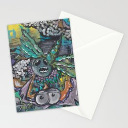 Abstract Pastel Bat/Dragonfly Acrylic Artwork Stationery Cards