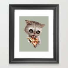 CAT LOVES PIZZA Framed Art Print