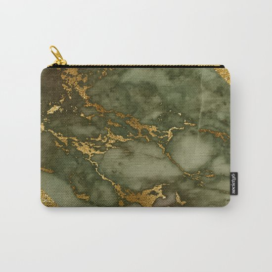 Green Marble with Gold and Glitter I Carry-All Pouch