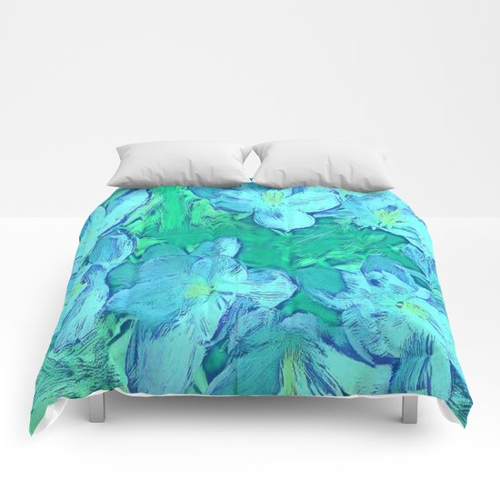 Ocean Floral Abstract - Painterly Comforters