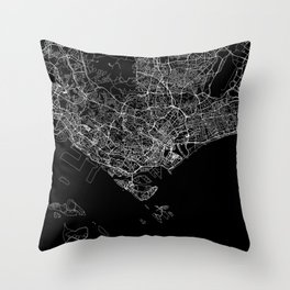 Singapore Black Map Throw Pillow