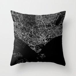 Singapore Black Map Throw Pillow