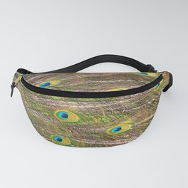 Colorful Peacock Feathers, Abstract Nature Texture Fanny Pack