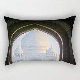 First View of Taj Mahal through the Morning Mist Rectangular Pillow