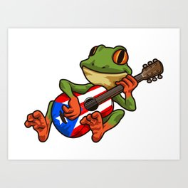 Coqui Frog Playing Guitar - Boricua Animal Art Print