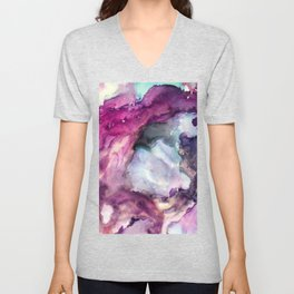 Purple Fusion - Mixed Media Painting Unisex V-Neck
