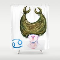cancer Shower Curtains featuring Cancer by Aloke Design