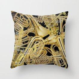 Brass Musical Instruments Throw Pillow