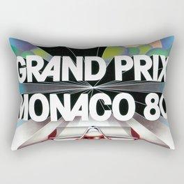 Monaco Gran Prix 38e 1980 Vintage Poster, Artwork for Wall Art, Prints, Poster, Tshirts, Men, Women, Kids Rectangular Pillow