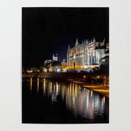 Cathedral of Palma de Mallorca at night Poster