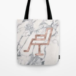 Rose Gold Salon Chair on Marble Background - Salon Decor Tote Bag
