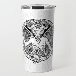 Drink Coffee Hail Satan I Satanic Baphomet print Travel Mug