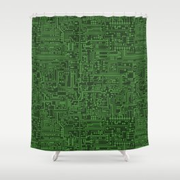 Circuit Board // Light on Dark Green Shower Curtain