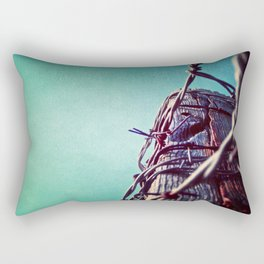 Barbed Wire Blue Rectangular Pillow