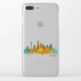 Dallas Texas City Skyline watercolor v03 Clear iPhone Case