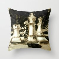 chess Throw Pillows featuring Chess by James Peart