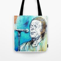 tom waits Tote Bags featuring Blue Tom Waits by Mark Matlock