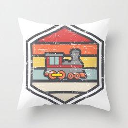 Retro Badge Locomotive Light Throw Pillow