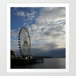 Seattle Great Wheel - Ferris Wheel on the Pier Art Print
