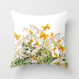 WHITE ART GARDEN ART OF YELLOW BUTTERFLIES Throw Pillow