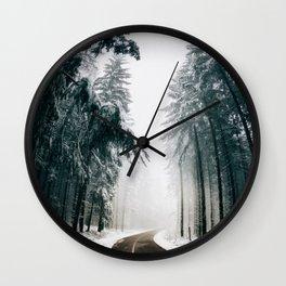 Winding Winter Roads Wall Clock