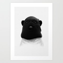 Panda Wearing Balaclava Art Print