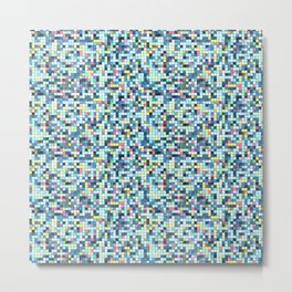 Blue White Yellow Tiling Colored Squares Metal Print