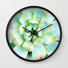 Mint Watercolor Succulent Wall Clock