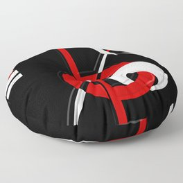 Black and white meets red version 28 Floor Pillow