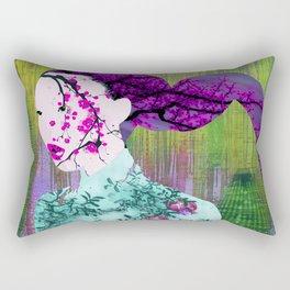 Asian Flower Woman Purple Asia Japan Japanese Art Rectangular Pillow